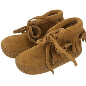 Minnetonka leather  fringe moccasin booties boots